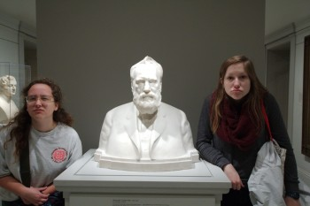 "Dorothy and Karlee with ""Alexander Graham Bell"" by Moses Wainer Dykaar"