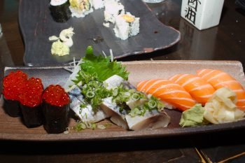 Salmon Roe (ikura), Mackerel (saba), and Salmon (sake)