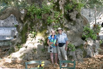 Dot and Bob at the Old Plane Tree, Krási, Crete, 2007