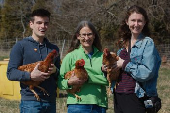 John, Cathy, and Grace (with Chickens)