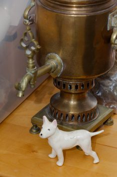 Samovar Lamp and Ceramic Dog