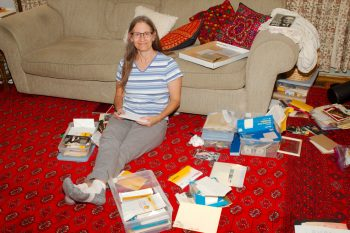 Cathy Sorting Photographs